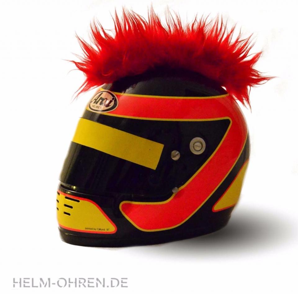 Motorradhelm Irokese Rot