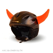 Skihelm - Hörner / Teufel - Neon-Orange